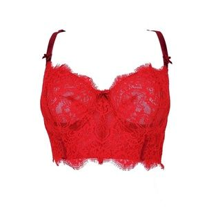 Victoria's Secret | Red Longline Lace Push Up Bra